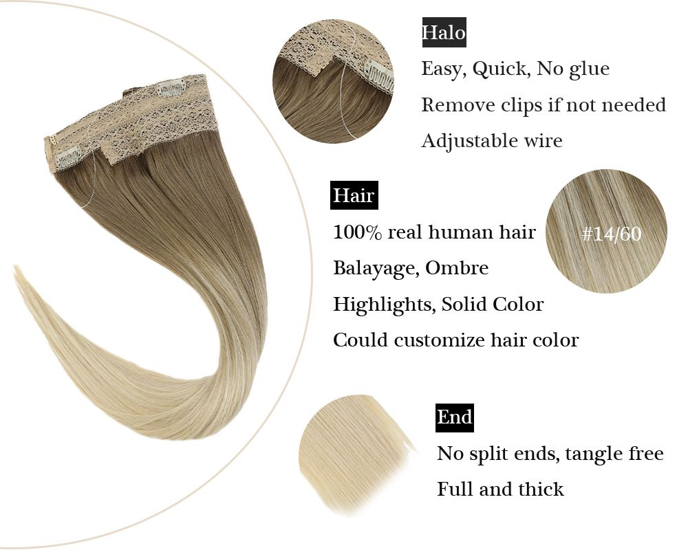Invisible Wire Balayage 100% Human Halo Hair Extensions Blonde