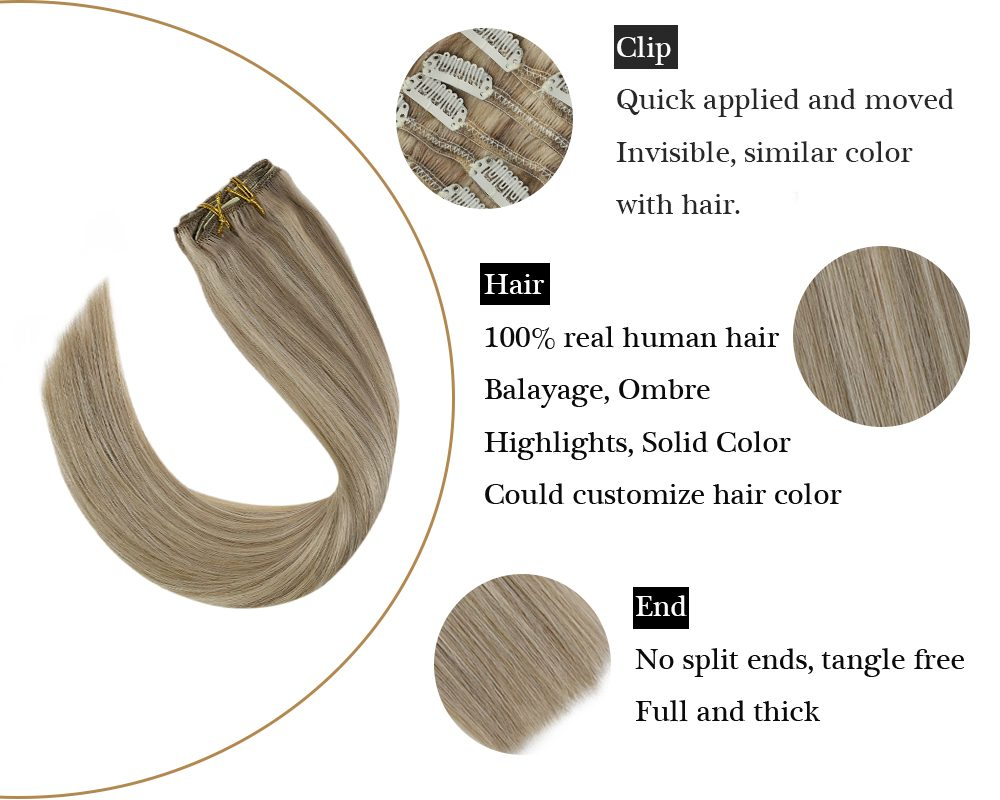 sunny hair seamless clip balayage blonde  in hair extensions
