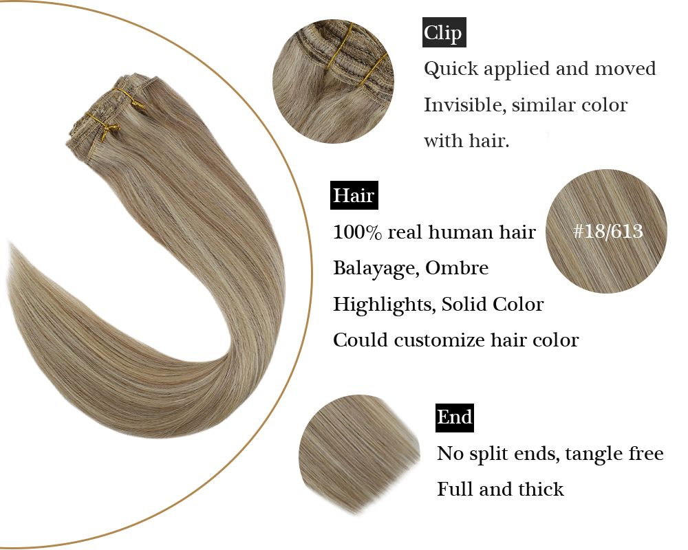 Clip in Human Hair Extensions Highlight Blonde