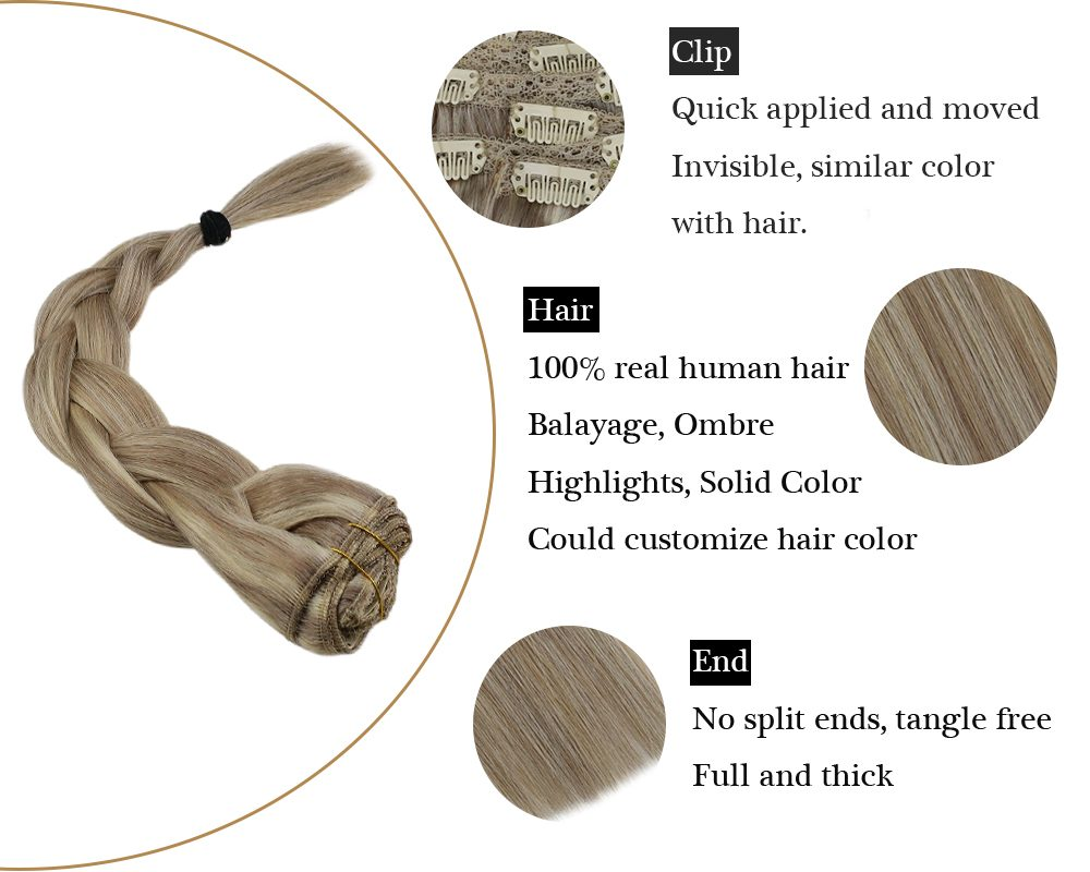 Seamless Clip in  Double Weft Highlights Blonde Color Human Hair Extensions