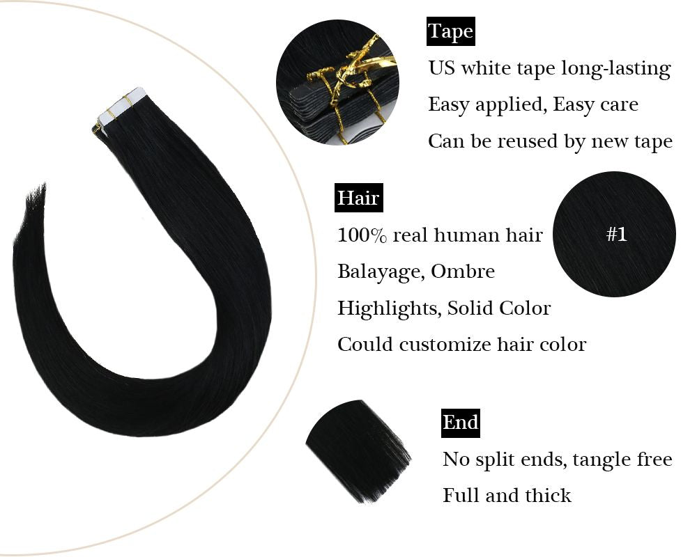 Jet Black Tape in Remy Human Hair Extensions