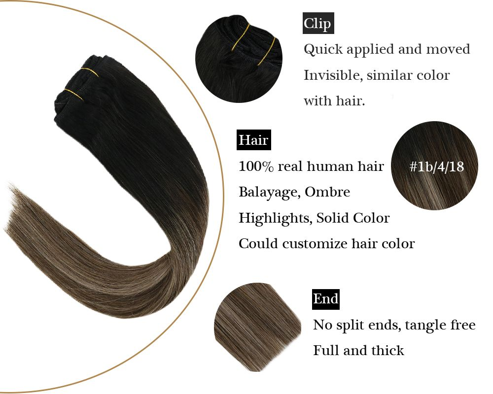 Balayage Invisible Clip in  Black Mixed Brown to Blonde Human Hair Extensions