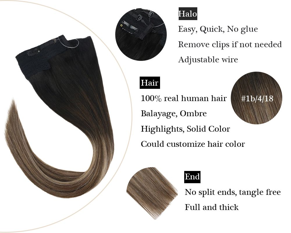 Balayage Halo Human Hair Extensions  Black to Brown Mixed Blonde