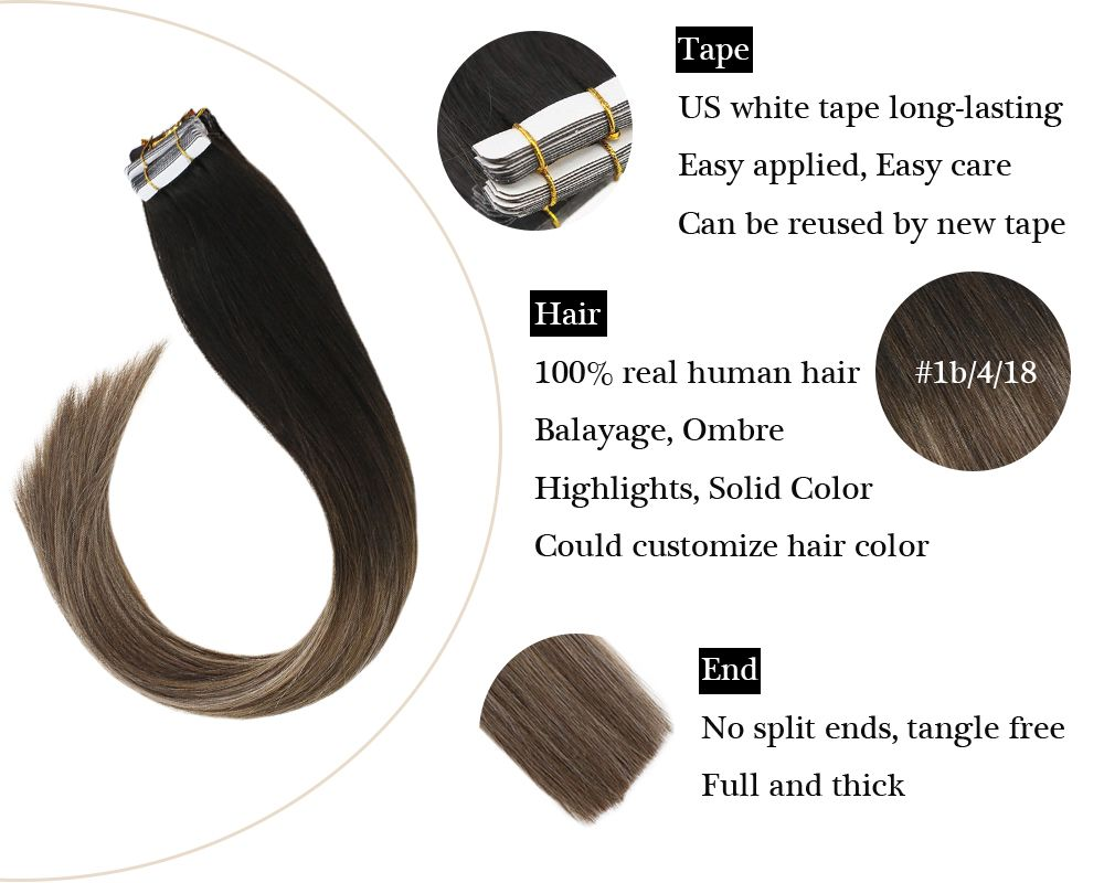 Balayage Black to Brown with Ash Blonde Tape in  Human Hair Extensions