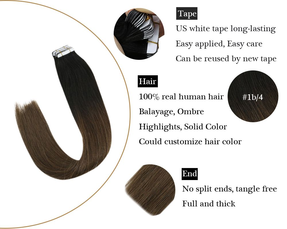 Omber Tape in Black to Dark Brown  Human Hair Extensions