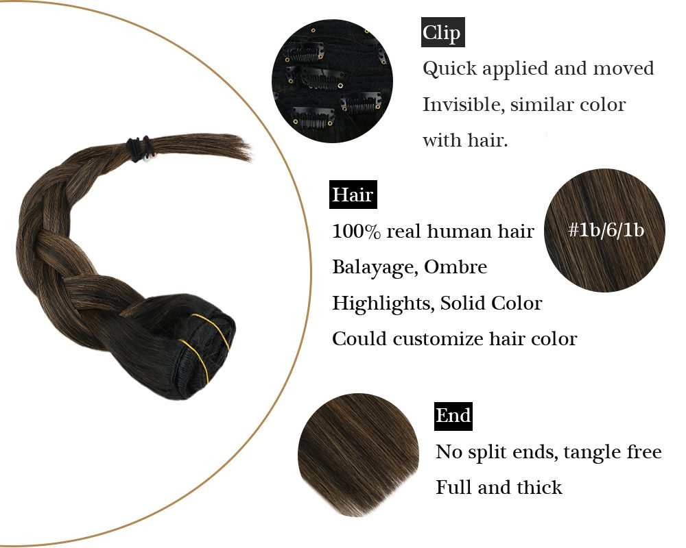 100% Remy Hair Highlights Black To Brown Clip In Extensions