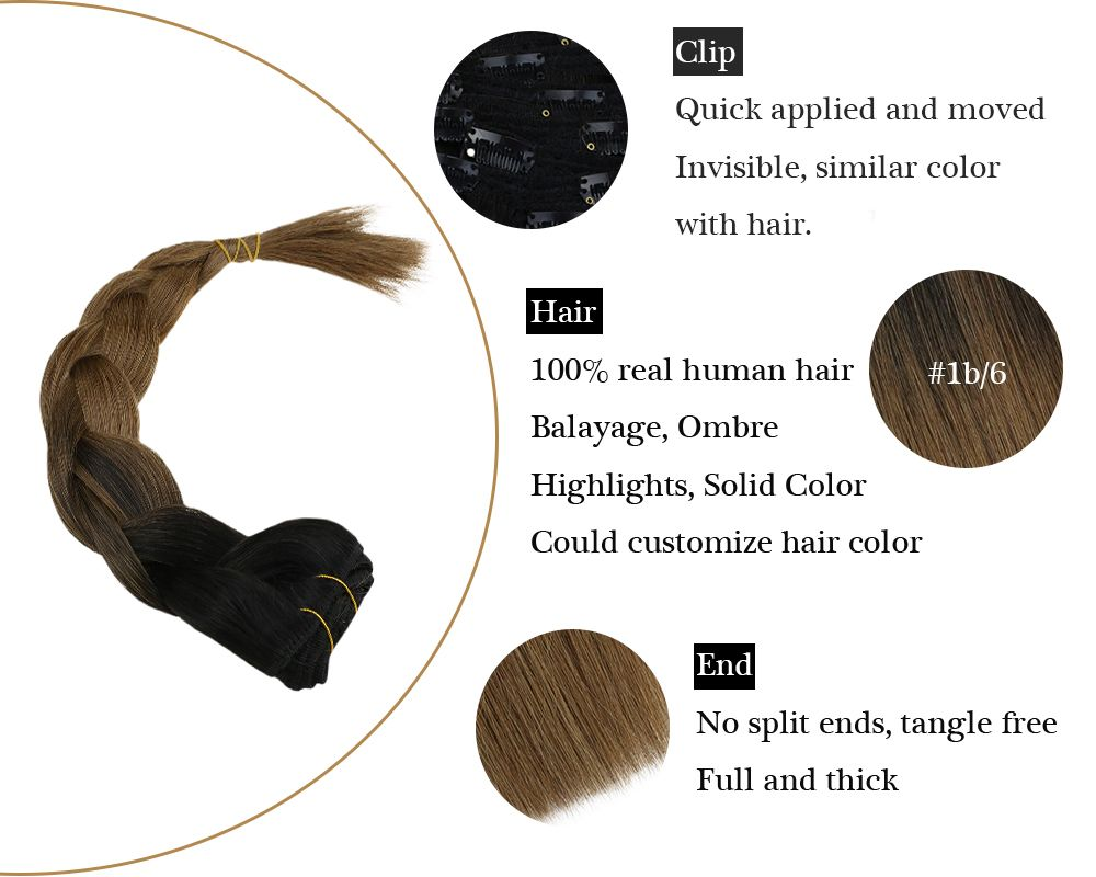 Seamless Ombre Clip in Natural Hair Extensions Black with Brown