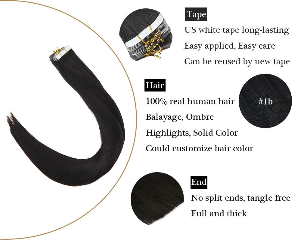 Tape in  Human Hair Extensions Natural Black Straight