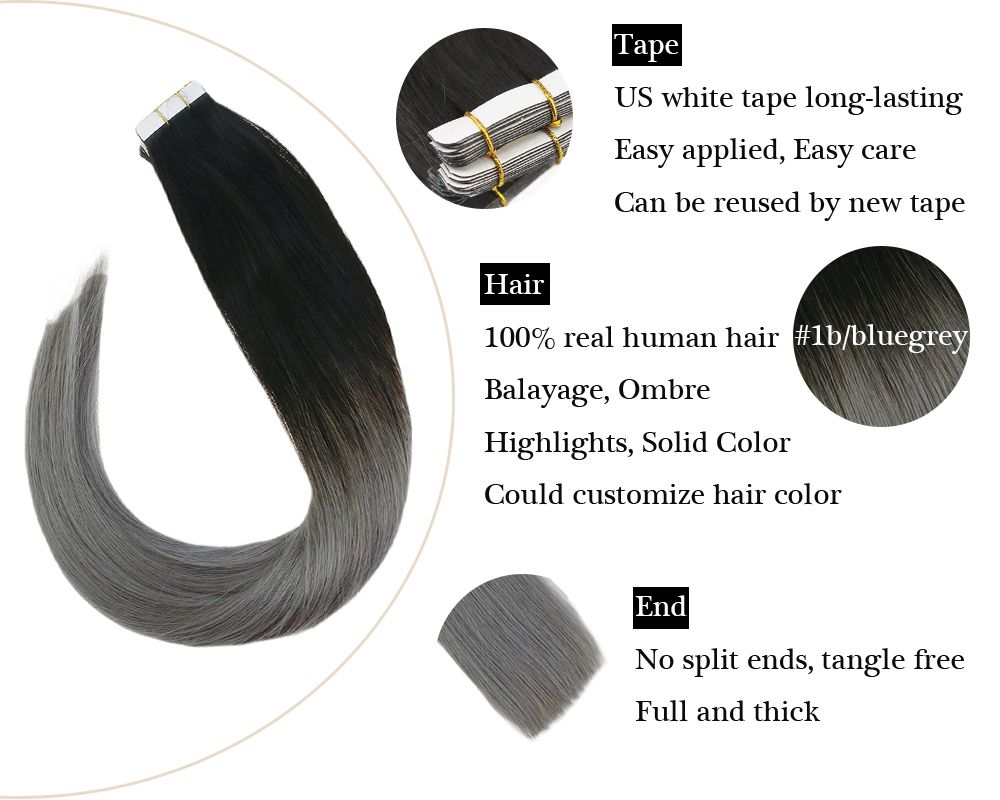 Ombre Tape in  Black to Blue Grey Human Hair Extensions