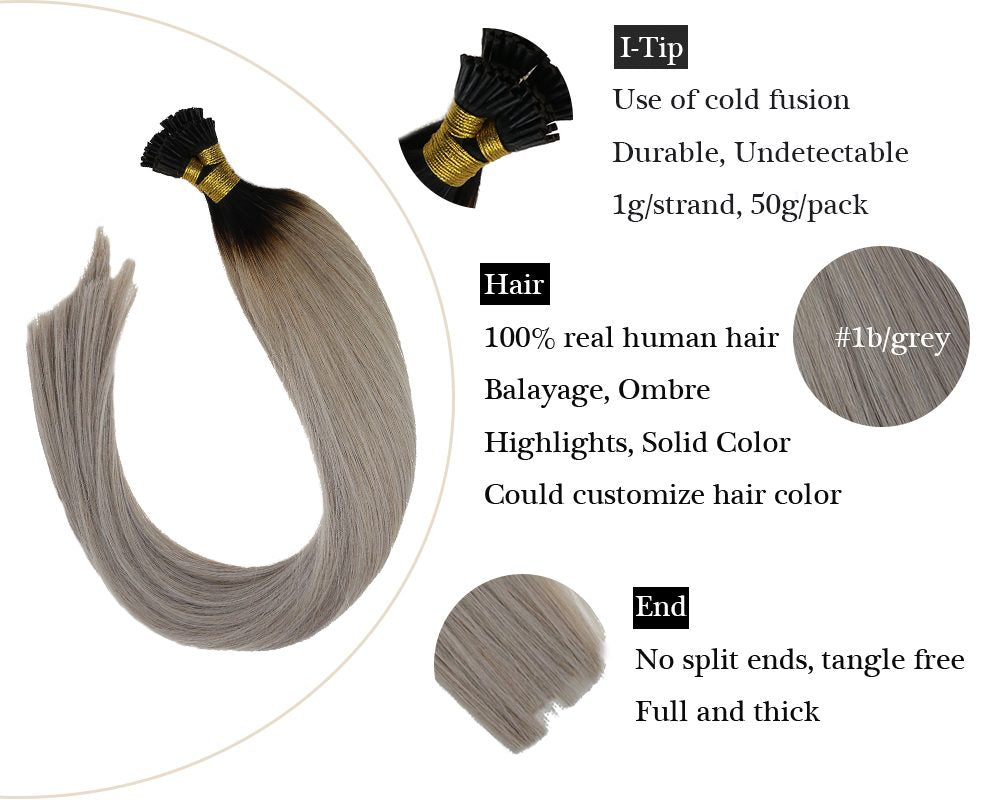 Ombre Black to Grey Keratin I Tip Human Hair Extensions