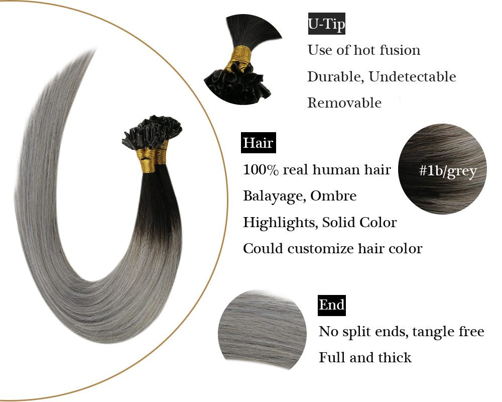 U tip Keratin Black Ombre Grey human hair extensions