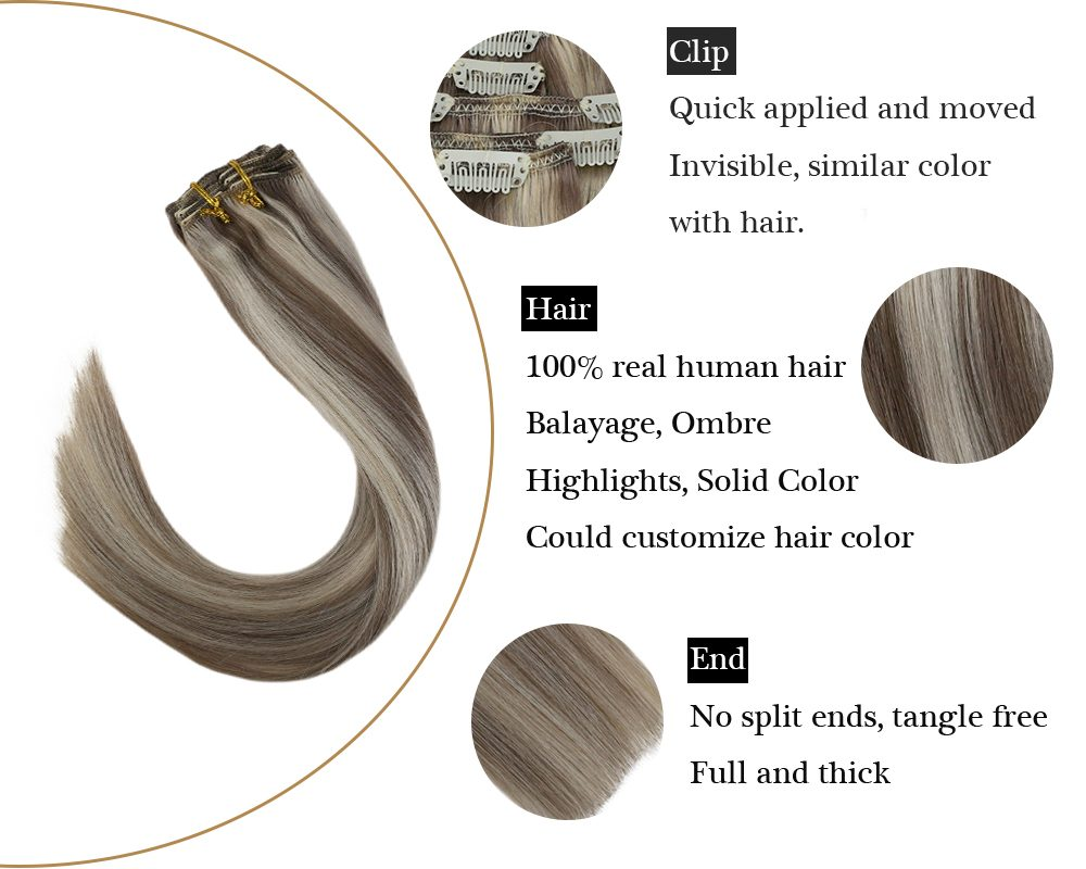 Seamless Highlights Clip in Human Hair Extensions Blonde