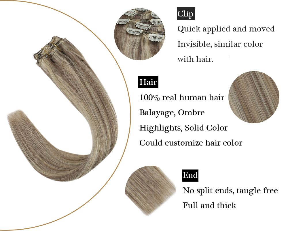 Highlights Blonde Color Double Weft Clip in Human Hair Extensions
