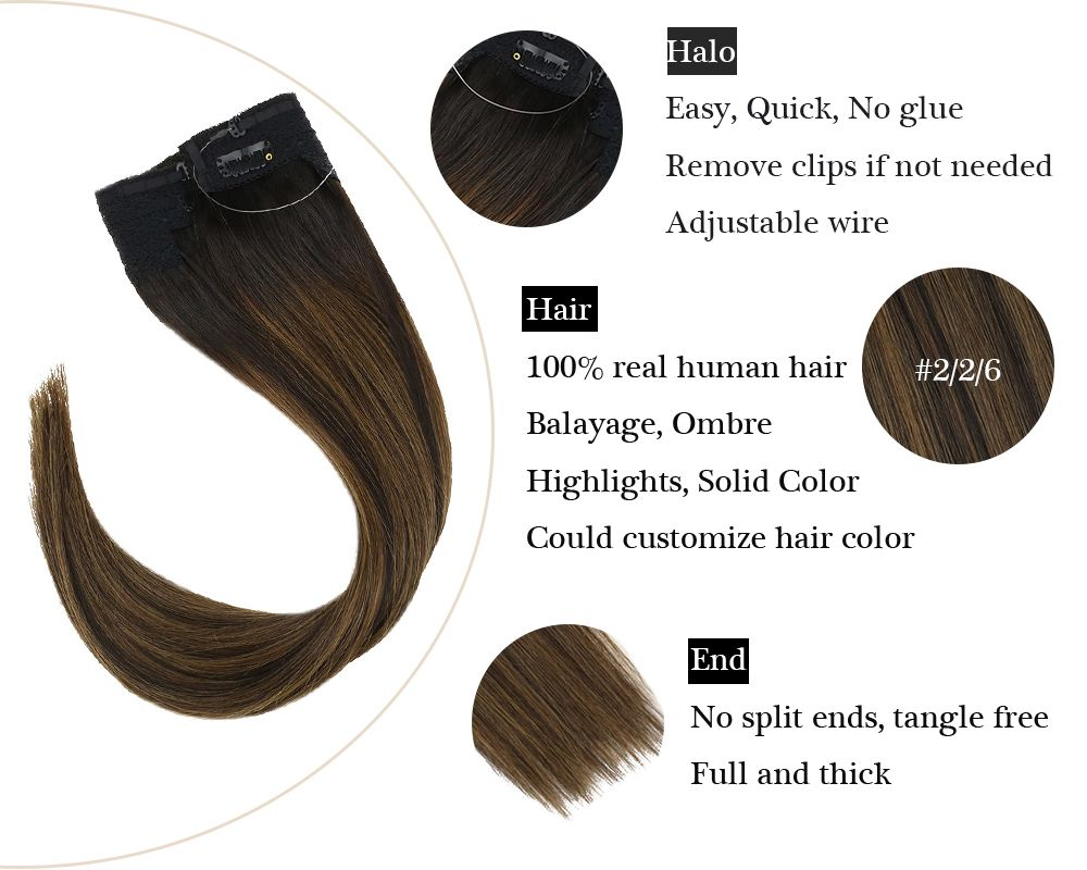 Balayage Halo Human Hair Extensions  Silky Brown No Glue