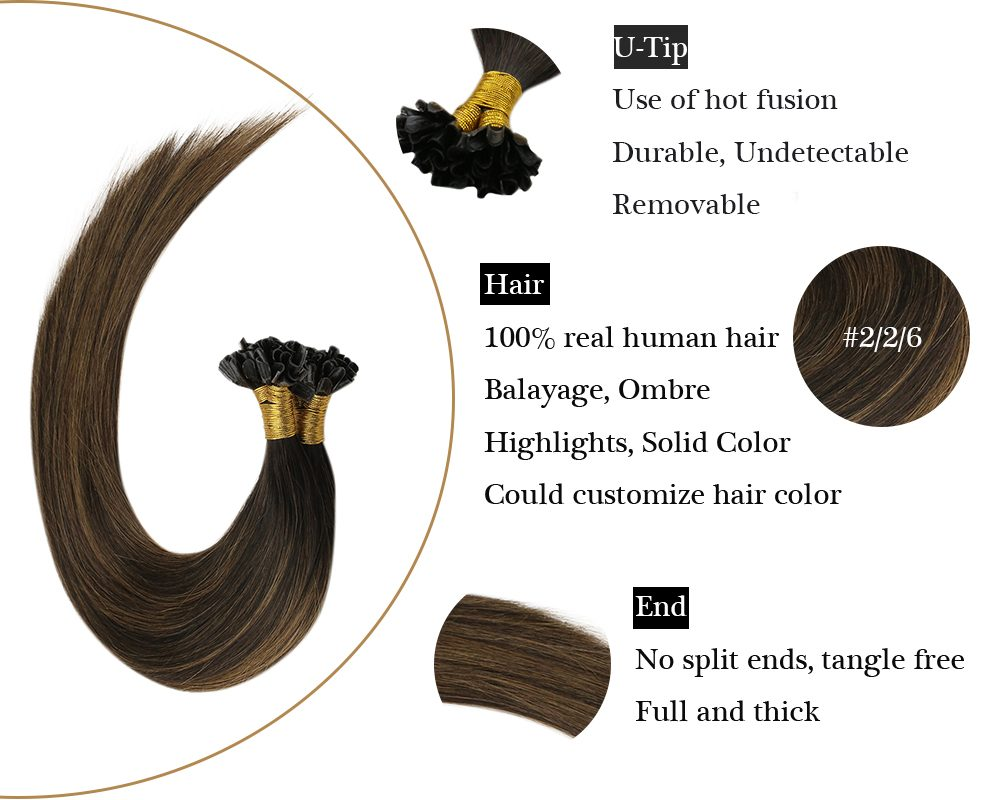 Balayage Brown U tip Keratin human hair extensions
