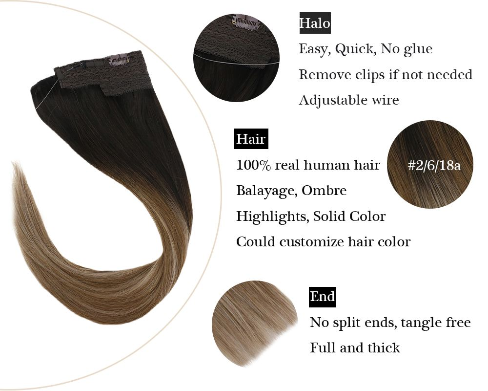 Invisible Wire Remy Halo Human Hair Extensions Brown Balayage Blonde