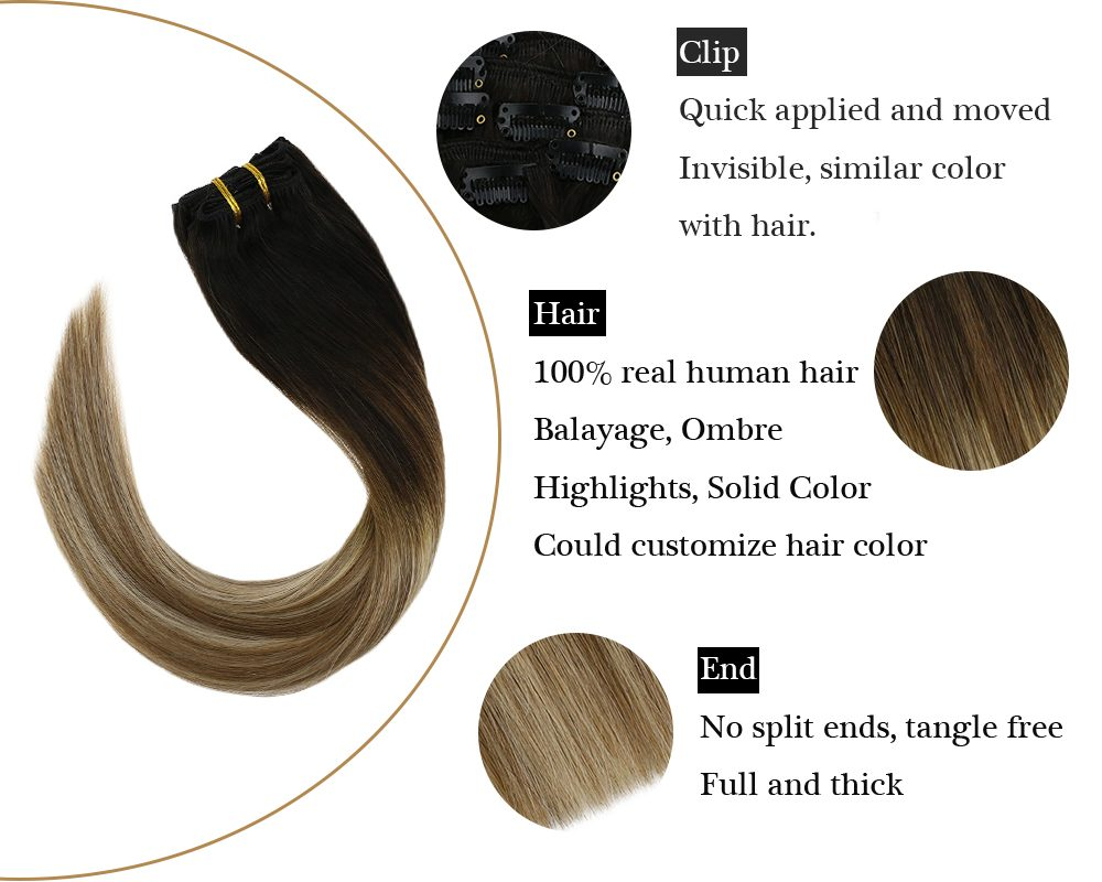 Clip in Balayage Brown Mixed Blonde Human Hair Extensions