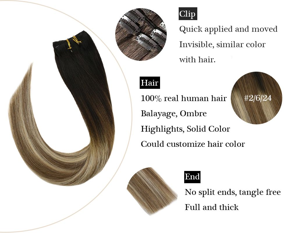 Sunny Hair Seamless Clip balayage blonde and brown in hair extensions
