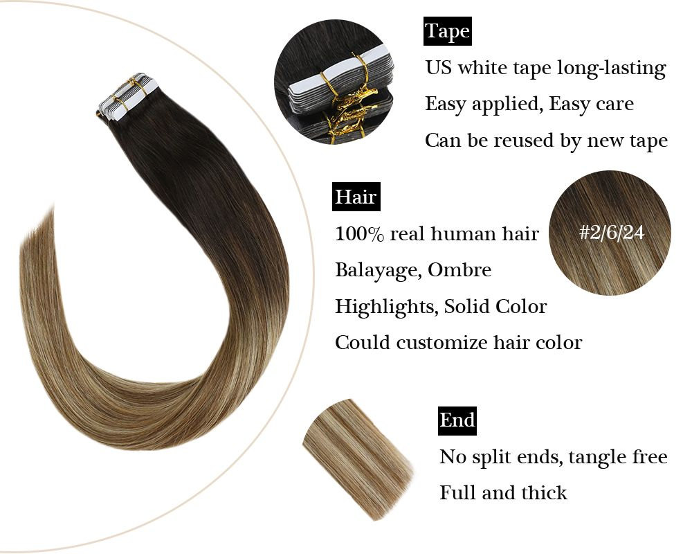 100% Remy hair Tape in Balayage Brown and Blonde Ombre Human Extensions