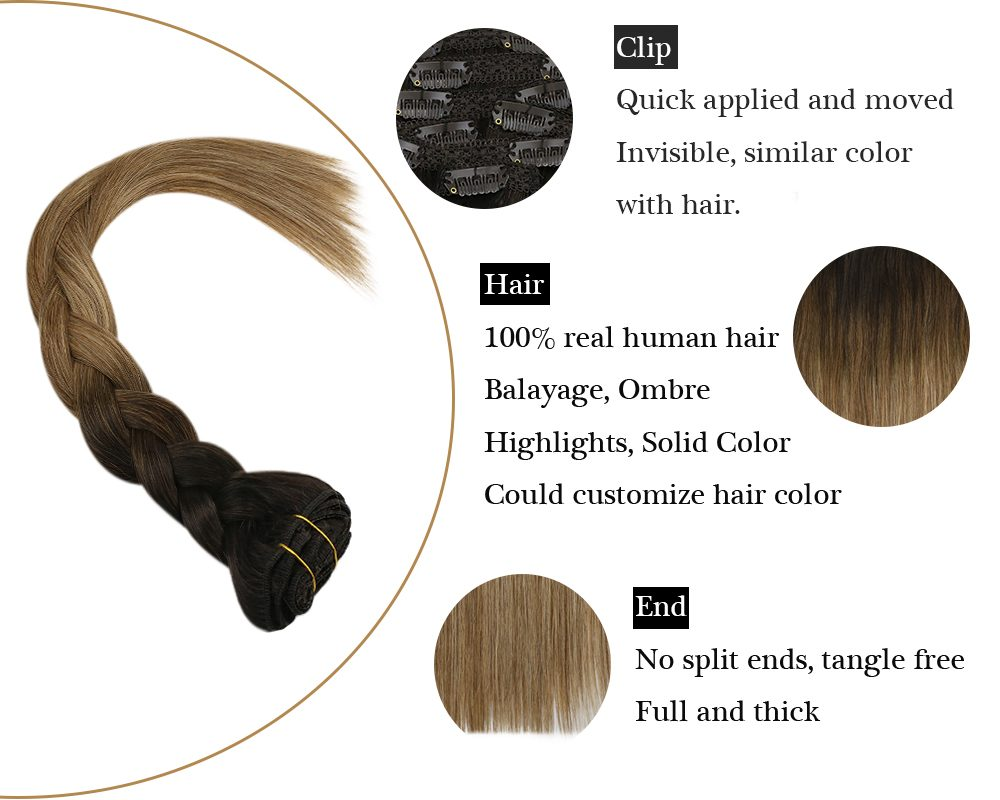 Balayage  Clip in  Brown Mixed Blonde Human Hair Extensions
