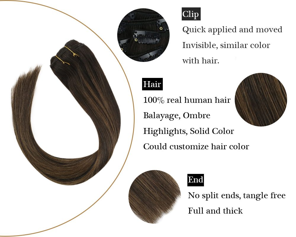 Clip in Double Weft Brown Balayage Human  Hair Extensions