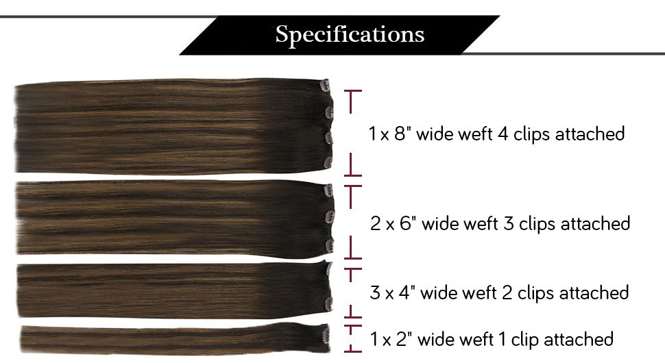 Double Weft Clip in Human Hair Extensions Balayage Brown Highlights