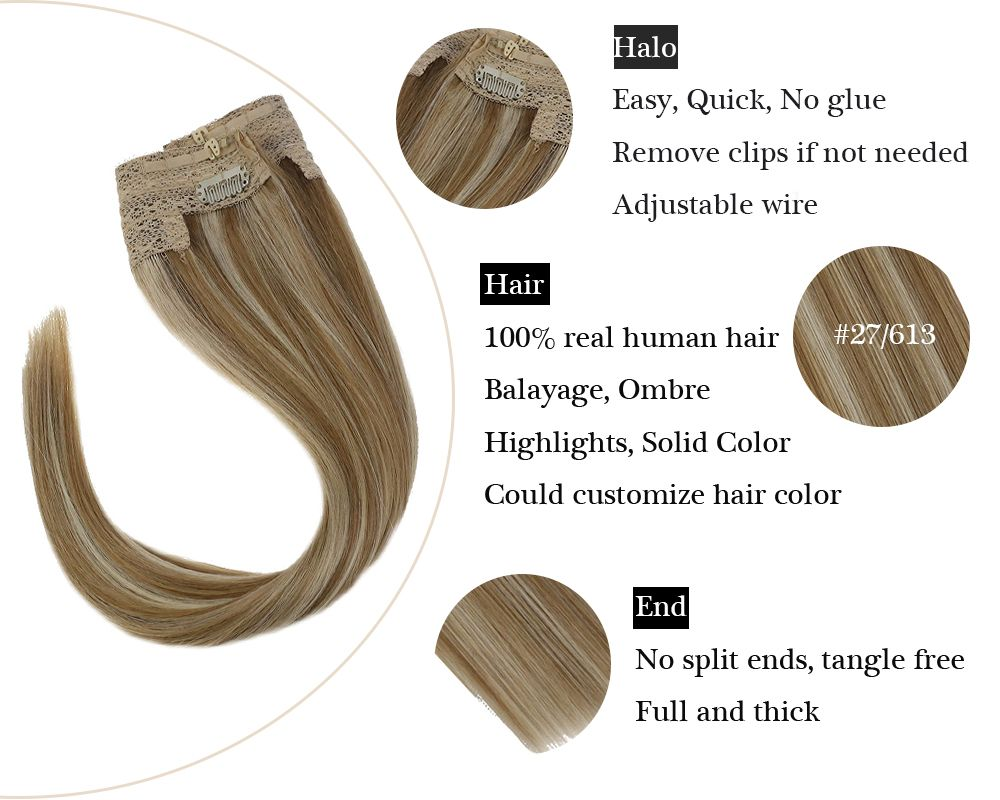 Highlights 100% Human Halo Hair Extensions Blonde Invisible