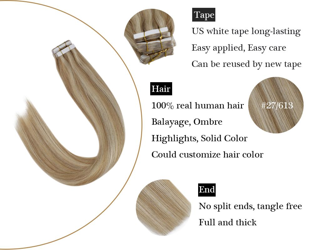 Highlighted Tape in Blonde Mixede Caramel Blonde Human Hair Extensions