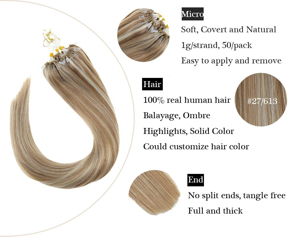 Highlights Blonde Micro Ring  Human Hair Extensions