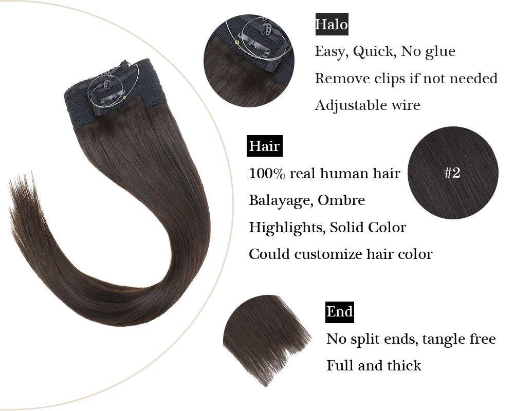 Remy Darkest Brown Halo Human Hair Extensions  Silky Straight