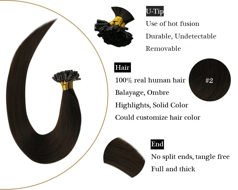 Darkest Brown U tip Keratin  human hair extensions