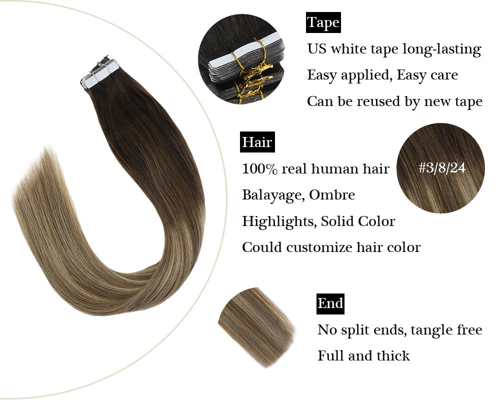 Tape in Balayage Brown To Golden Blonde Human Hair Extensions