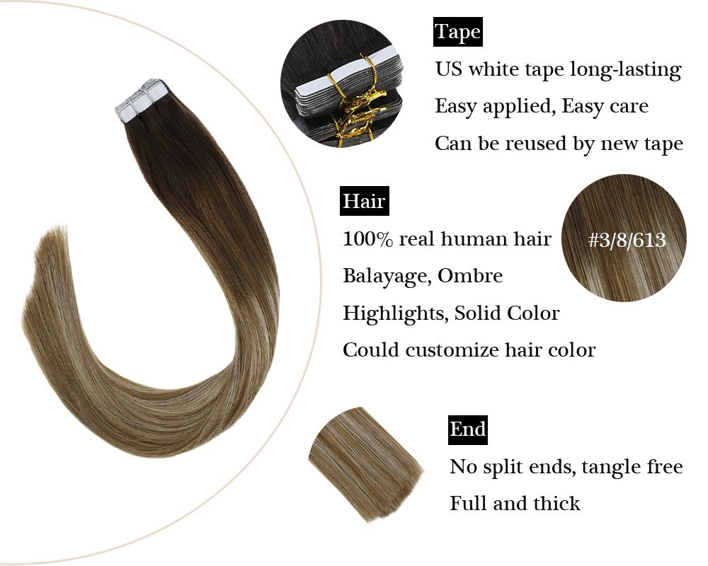 100% Remy HairTape in Balayage Brown and Blonde  Human Hair Extensions