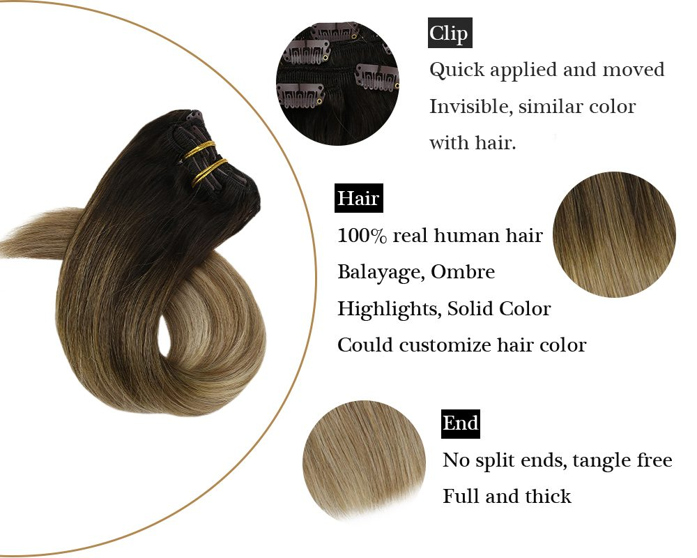 Clip in Balayage Brown Mixed Ash Blonde Human Hair Extensions
