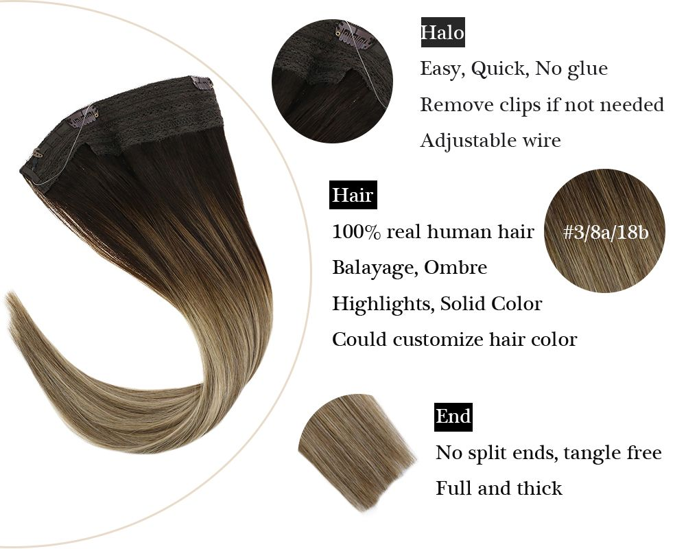 Balayage Halo Human Hair Extensions  Silky Brown with Blonde No Glue with Clips