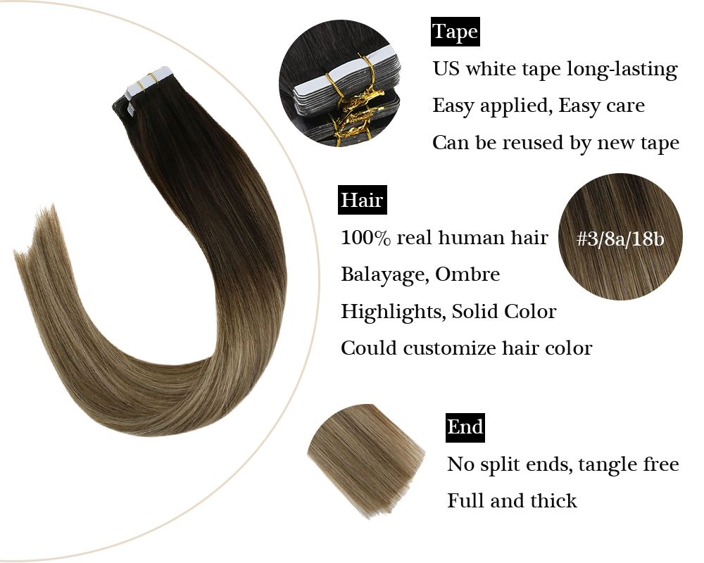 Balayage Tape in Human Hair Extensions Brown And Blonde