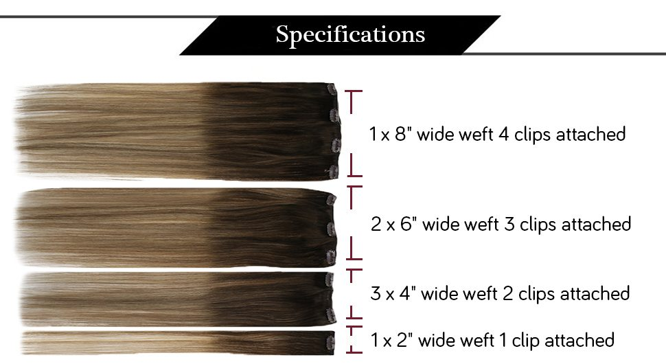 Double Weft  balayage Blonde and Brown clip in  hair extensions