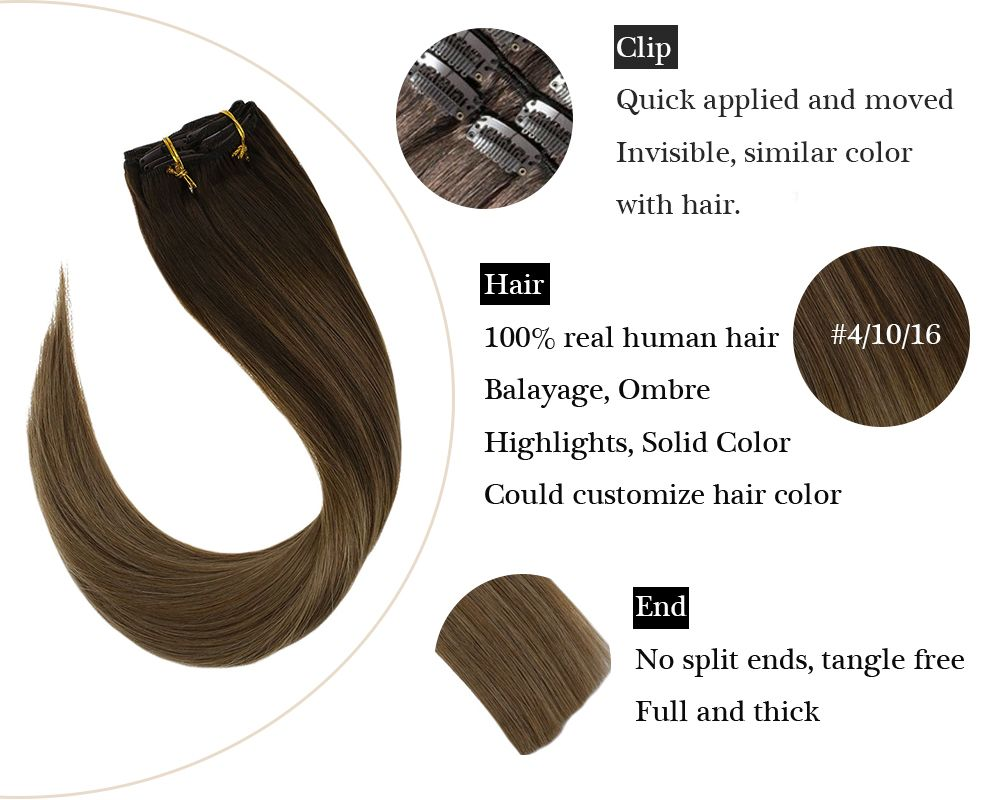 balayage Blonde and Brown clip in  hair extensions