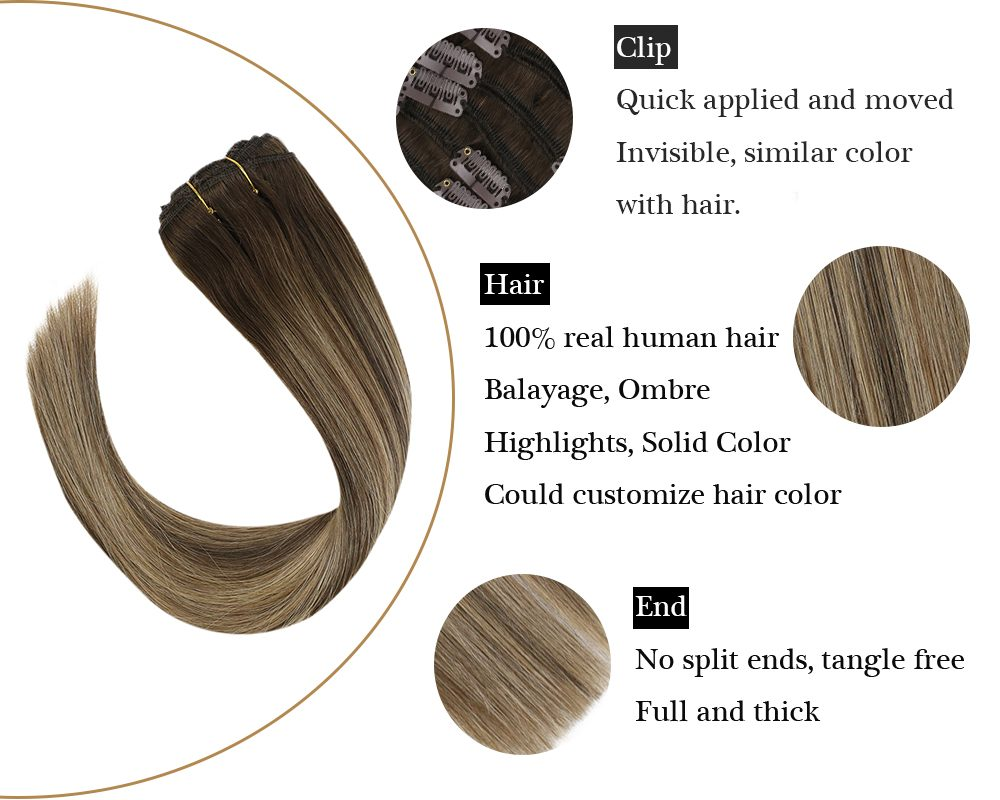 sunny hair seamless clip Balayage Blonde and Blonde in hair extensions