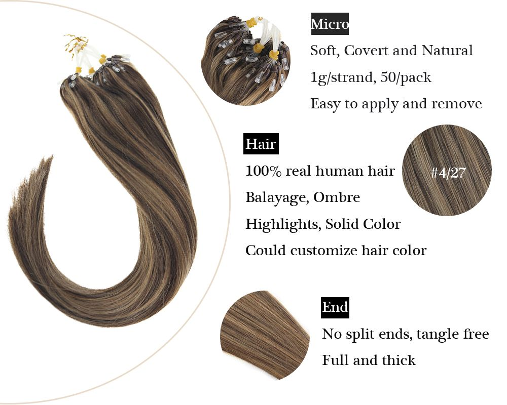 Highlights Brown Micro Ring  Human Hair Extensions