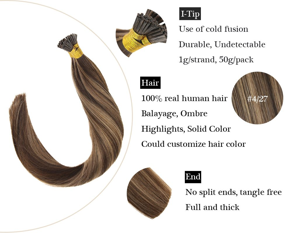 Keratin I Tip HighLight Brown Fading To Blonde  Human Hair Extensions