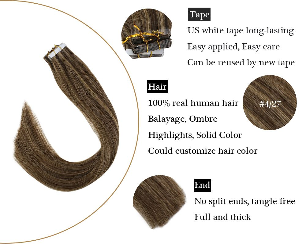 Brown with Blonde Tape in Human Hair Extensions Highlights