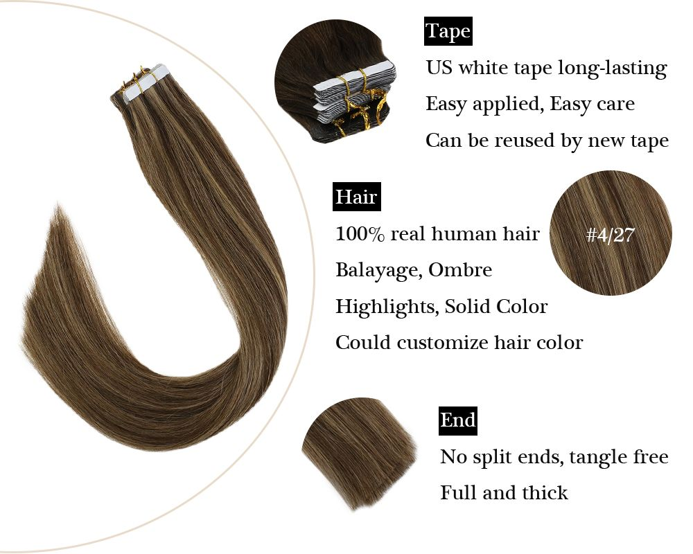 Tape in Human Hair Extensions Brown Mixed Caramel Blonde