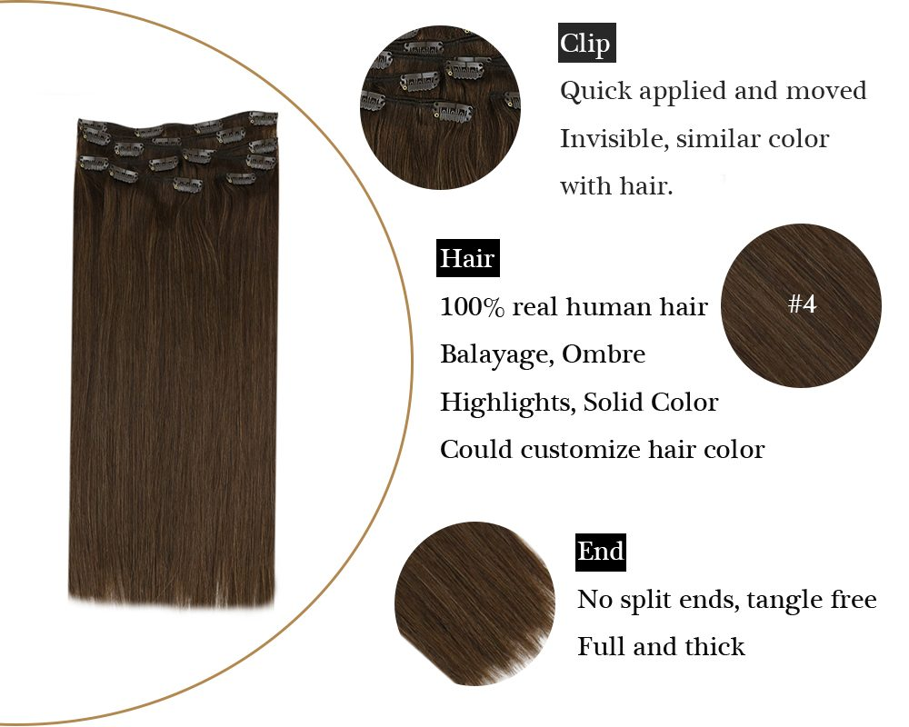 Dark Brown Color Silky Straight Clip in Human Hair Extensions