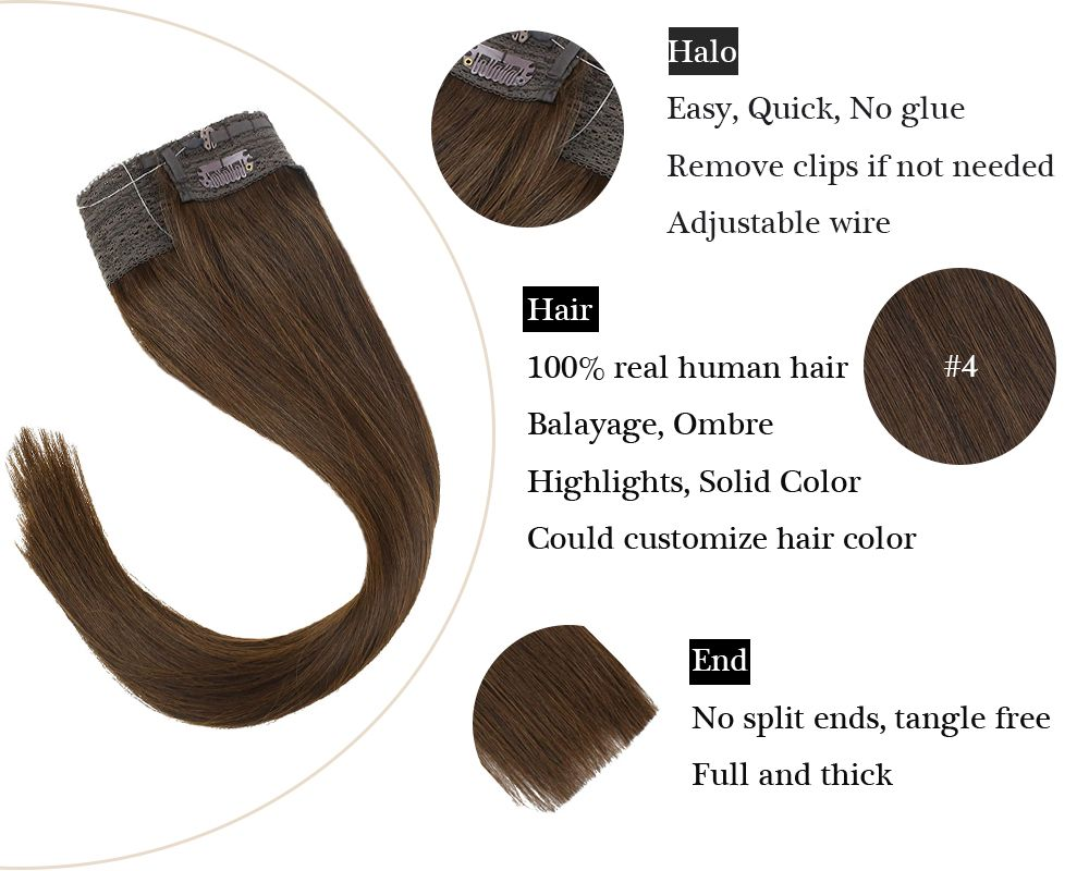 Remy No Glue Dark Brown Halo Human Hair Extensions Silky Straight