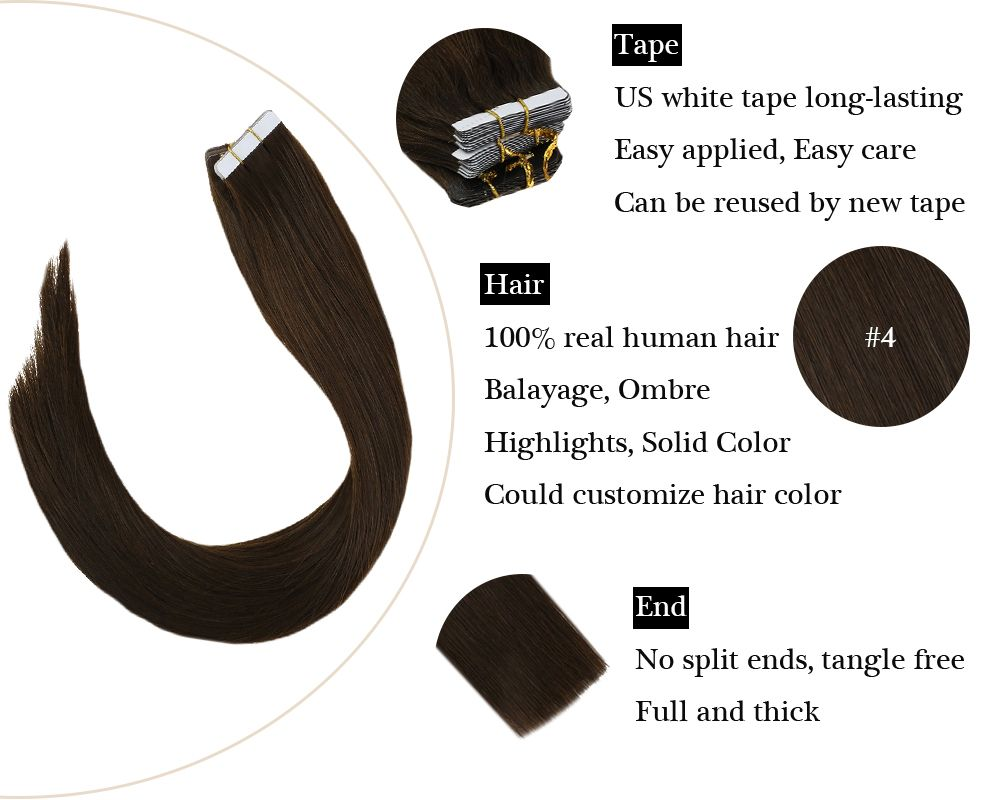 Skin Weft Tape in Brown Real Human Hair Extensions