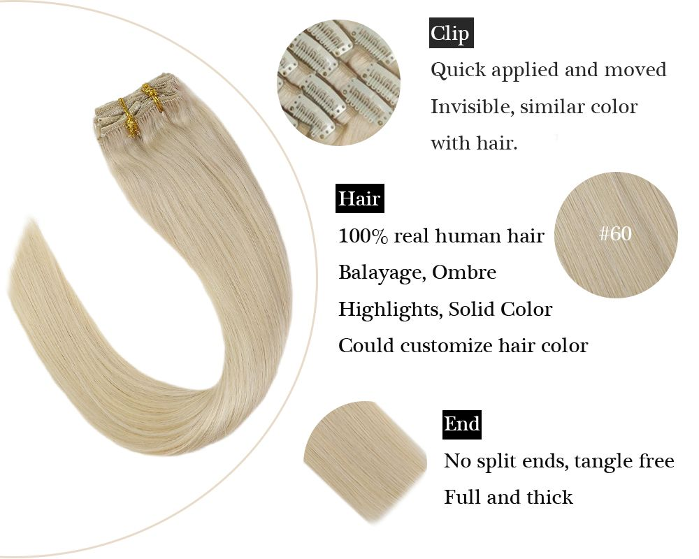 Silky Straight Clip in Human Hair Extensions Lightest Blonde