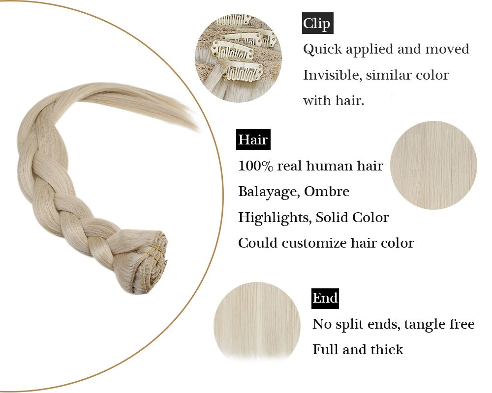 Double Weft Clip in Human Hair Extensions Bleach Blonde