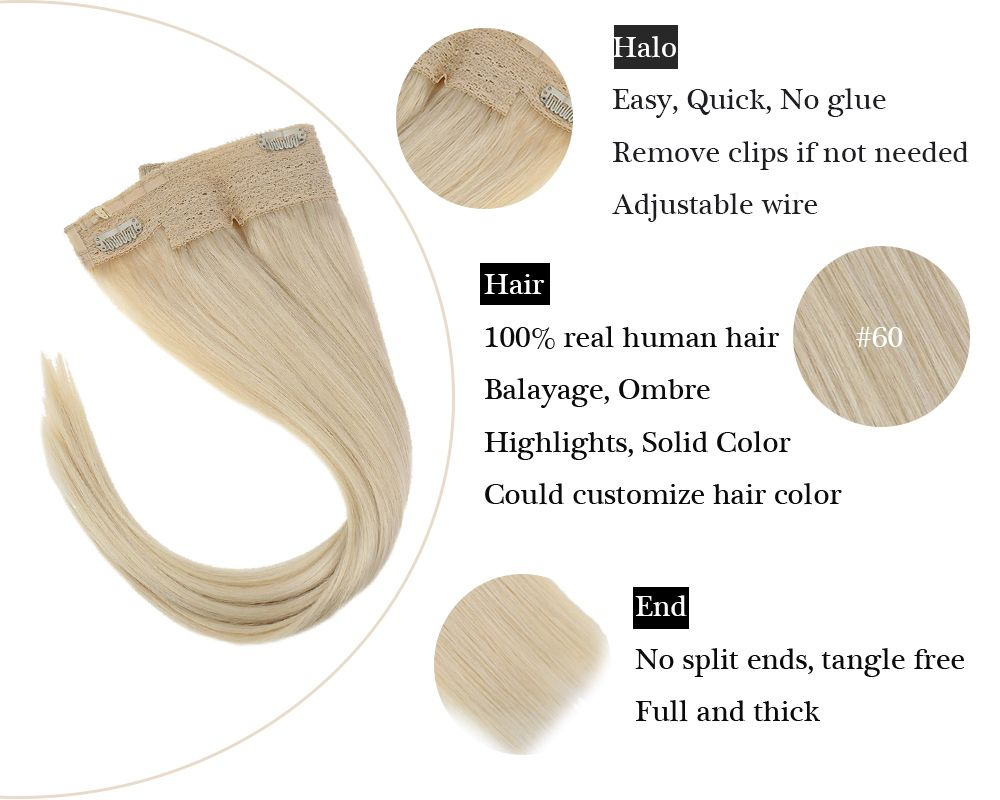 Remy No Glue White Blonde Halo Human Hair Extensions Silky Straight
