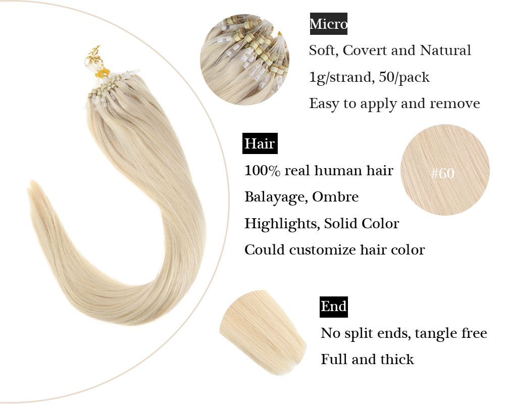 Lightest Blonde Micro Ring  Human Hair Extensions